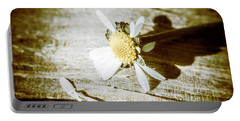 White Summer Daisy Denuded Of Its Petals Portable Battery Charger