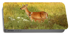 White-tail Doe And Fawn In Meadow Portable Battery Charger