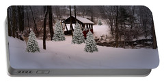 White Tailed Buck At Belmont N H Covered Bridge Portable Battery Charger