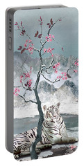 White Tiger And Plum Tree Portable Battery Charger