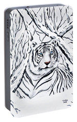 Portable Battery Charger featuring the painting White Tiger Blending In by Teresa Wing