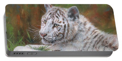 White Tiger Cub 2 Portable Battery Charger by David Stribbling