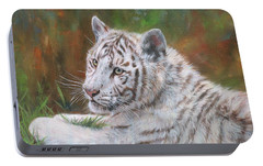 Portable Battery Charger featuring the painting White Tiger Cub 2 by David Stribbling