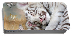 Portable Battery Charger featuring the mixed media White Tiger Dreams by Carol Cavalaris