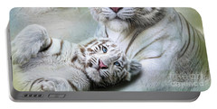 Portable Battery Charger featuring the digital art  White Tiger by Trudi Simmonds