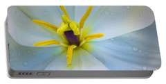 White Tulip Closeup Portable Battery Charger