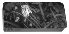 Portable Battery Charger featuring the photograph White Tulip June 2016 Bw.  by Leif Sohlman