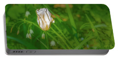 Portable Battery Charger featuring the photograph White Tulip June 2016.  by Leif Sohlman