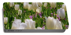 White Tulips In Bloom Portable Battery Charger