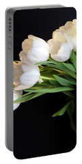 White Tulips In Blue Vase Portable Battery Charger