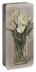 White Tulips In Rectangular Glass Vase Portable Battery Charger