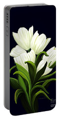 White Tulips Portable Battery Charger