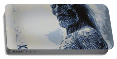 Portable Battery Charger featuring the painting White Walker by Luis Ludzska