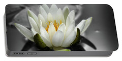 White Water Lily Black And White Portable Battery Charger by Smilin Eyes  Treasures