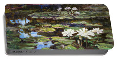 White Waterlilies In Tower Grove Park Portable Battery Charger