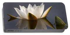 Portable Battery Charger featuring the photograph White Waterlily 2 by Jouko Lehto