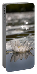 Portable Battery Charger featuring the photograph White Waterlily 3 by Jouko Lehto