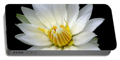 Portable Battery Charger featuring the photograph White Waterlily With Dewdrops by Rose Santuci-Sofranko