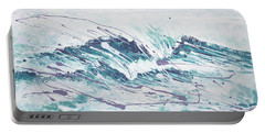 White Wave Abstract Portable Battery Charger