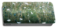 White Wild Flowers Landscape Portable Battery Charger