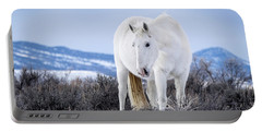 White Wild Horse Mystic Of Sand Wash Basin Portable Battery Charger