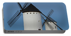 Portable Battery Charger featuring the photograph White Windmills by Heiko Koehrer-Wagner