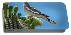 Portable Battery Charger featuring the photograph White Winged Dove On Cactus Flower by Penny Lisowski