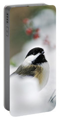 White Winter Chickadee Portable Battery Charger