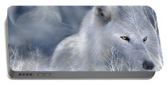 White Wolf Portable Battery Charger by Carol Cavalaris