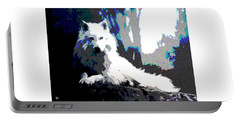 White Wolf Portable Battery Charger by Charles Shoup