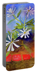 Portable Battery Charger featuring the painting White Zinnias by Sandy McIntire