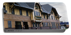 Whitefish Train Depot Montana Portable Battery Charger by Wernher Krutein