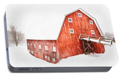 Portable Battery Charger featuring the painting Whiteout On The Farm Blizzard Stella by Edward Fielding