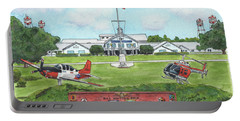 Portable Battery Charger featuring the painting Whiting Field Welcome Sign by Betsy Hackett