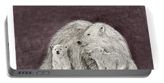 Portable Battery Charger featuring the painting Polar Bear Family by Jack Pumphrey