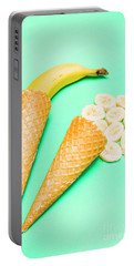 Whole Bannana And Slices Placed In Ice Cream Cone Portable Battery Charger