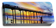 Whos Walking Whom, Scripps Pier, San Diego, California Portable Battery Charger