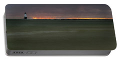 Wide View Of Lighthouse And Sunset Portable Battery Charger