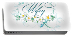 Wifey New Bride Dragonfly W Daisy Flowers N Swirls Portable Battery Charger