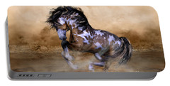 Wild And Free Horse Art Portable Battery Charger by Shanina Conway