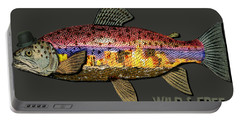 Wild And Free In Anchorage-trout With Hat Portable Battery Charger