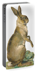 Portable Battery Charger featuring the digital art Wild Hare by ReInVintaged