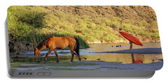 Wild Horse On River With People In Water Portable Battery Charger