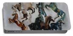 Portable Battery Charger featuring the painting Wild Horses Are Coming by Barbie Batson