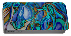Wild  Horses In Brown And Teal Portable Battery Charger