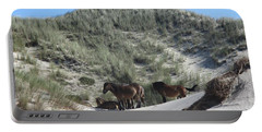 Wild Horses In The Noordhollandse Duinreservaat Portable Battery Charger