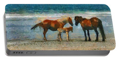 Wild Horses Of The Outer Banks Portable Battery Charger