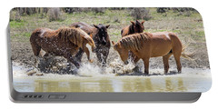 Wild Mustang Stallions Playing In The Water - Sand Wash Basin Portable Battery Charger