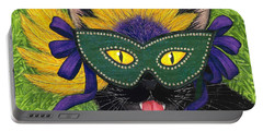Wild Mardi Gras Cat Portable Battery Charger