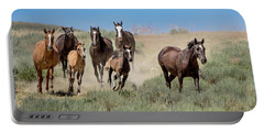wild mustangs on the run to the water hole in Sand Wash Basin Portable Battery Charger